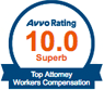 Avvo Rating 10.0 Top Attorney Workers' Compensation
